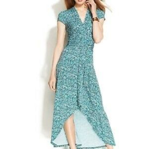 Michael kors 8 dress blue maxi high to low sleeve